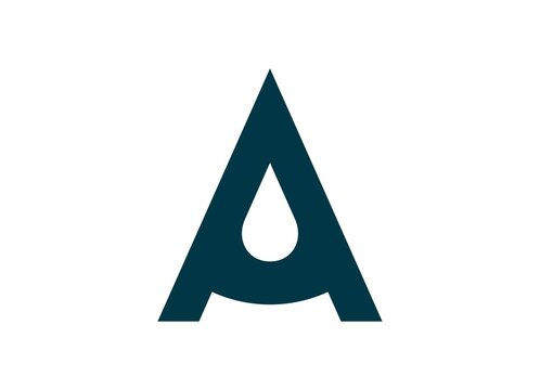 letter A and water drop logo