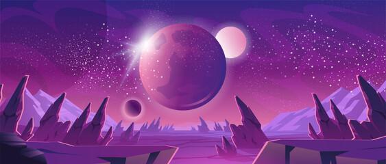 Ruimteachtergrond met planeetlandschap en sterrenillustratie