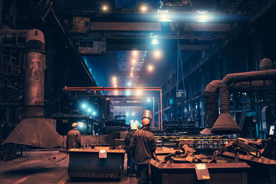 Metallurgical plant workshop production manufacturing building inside interior, heavy industry, steelmaking.