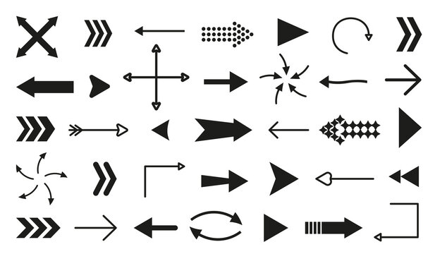 Black flat arrow icons set isolated on white background. Different shape pointer collection. Simple cursor symbol for graphic design, mobile apps, web interface. Up, down, left, right direction sign