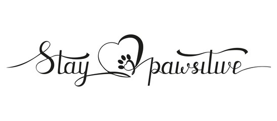 Stay positive lettering inscription with heart and cat or dog paw. Stay pawsitive funny design template. Hand drawn pet quote isolated on white background. Brush calligraphy. Vector illustration