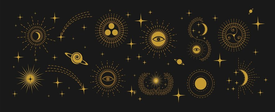 Esoteric doodle signs. Witchcraft design elements. Mystical moon, stars, eye, sun icons vector illustration. Spirituality, mysticism, magic, space, astrology linear icon set