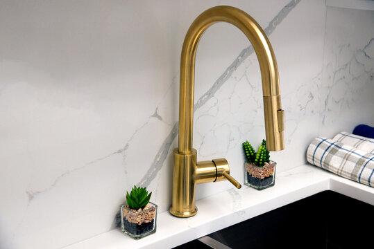 yellow kitchen sink faucet interior modern water