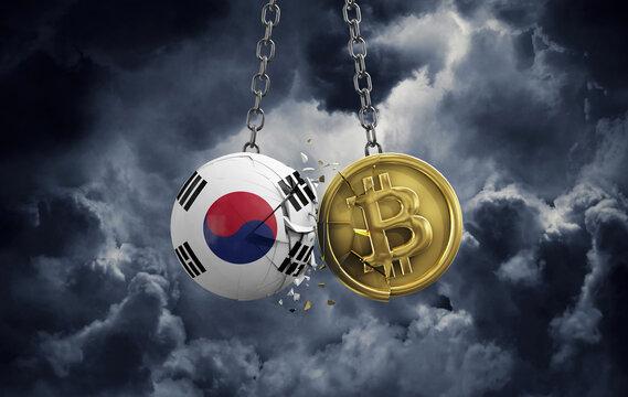 South Korea flag smashing into a gold bitcoin crypto coin. 3D Rendering