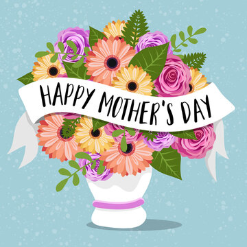Happy mothers day card with colorful flowers in a vase and lettering illustration vector