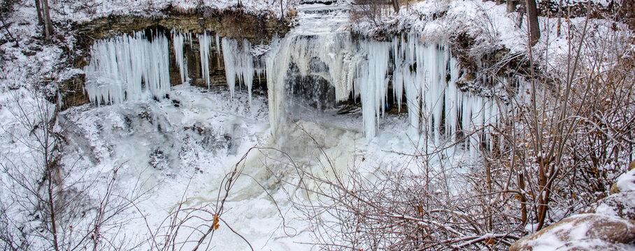 Closeup Beautiful Minnehaha water falls Covered in Snow, Minnesota USA