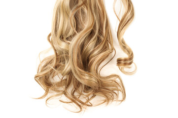Fototapeta closeup of wrap round clip in wavy brown mixed blonde highlights synthetic ponytail hair extensions