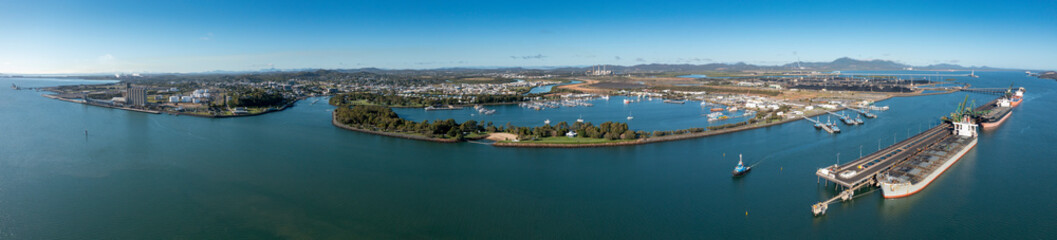 Fototapeta Aerial panoramic view of Gladstone town and industrial port in Queensland Australia obraz