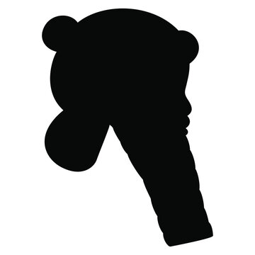 Head in profile of a bearded man. Ancient Sumerian or Elamite male portrait. Black silhouette on white background.