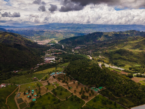 Beautiful aerial view of the Orosia Valley in Cartago Costa Rica