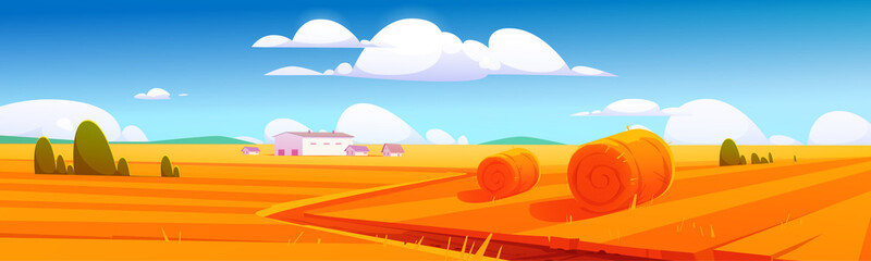 Rural landscape with hay bales on agriculture field and farm buildings. Vector cartoon illustration of countryside, farmland with round wheat straw rolls, yellow haystacks and barns