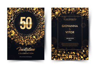 Obraz 50th years birthday vector black paper luxury invitation double card. Fifty years wedding anniversary celebration brochure. Template of invitational for print dark background with bokeh lights - fototapety do salonu