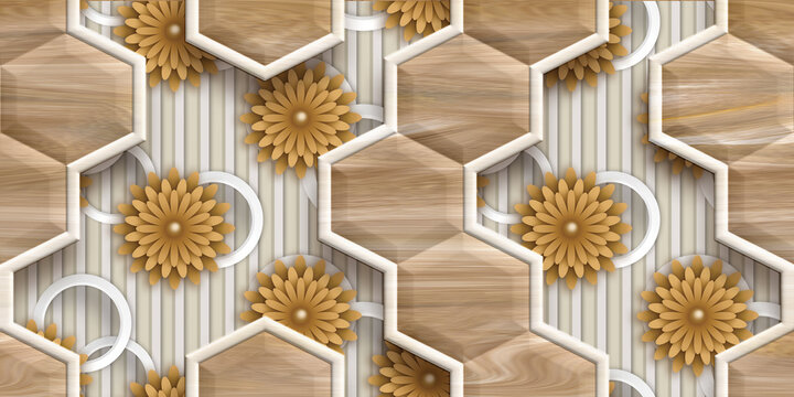 Wall Decor for interior home decoration, Ceramic wall Tile Design For Bathroom. it can be used for ceramic tile, wallpaper, linoleum, textile, web page background - 3D Illustration