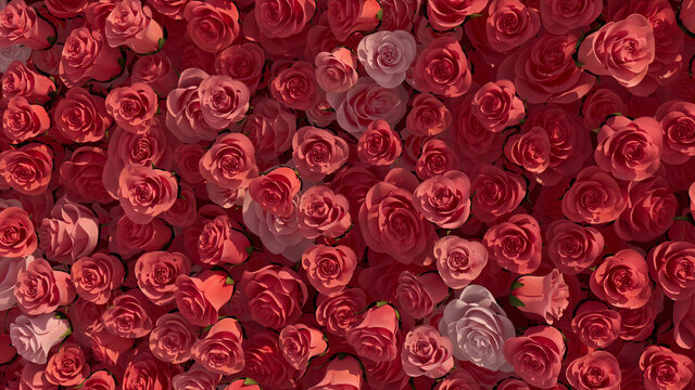 Pink, Elegant Wall background with Roses. Colorful, Floral Wallpaper with Bright, Romantic flowers. 3D Render