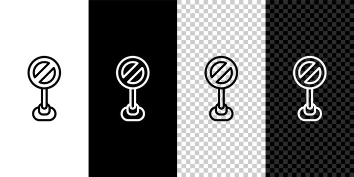 Set line Stop sign icon isolated on black and white, transparent background. Traffic regulatory warning stop symbol. Vector