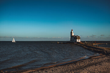 Wall Murals Horses Scenic view of the famous Paard van Marken lighthouse in the Netherlands
