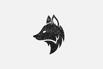 Fototapeta Silhouette of wild fox head profile as symbol of wildlife in countryside hand drawn stamp effect vector illustration.