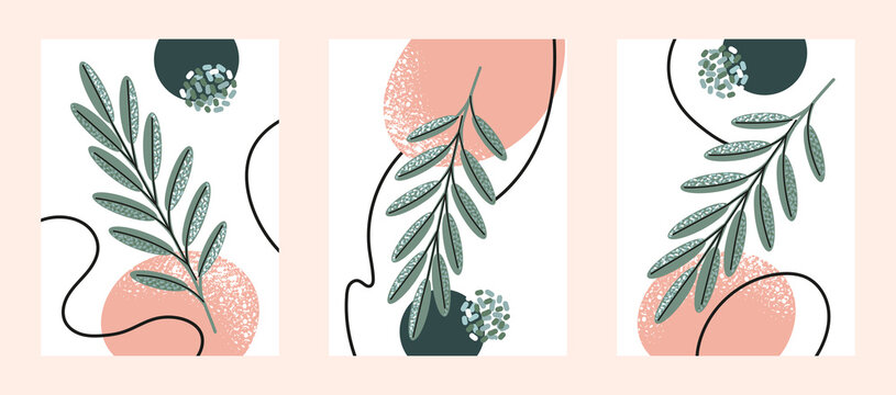Set of vector minimalist posters with abstract composition and and natural twigs of leaves in trendy style. For art gallery, interior design or social networks