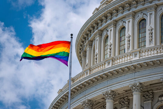 Rainbow flag waving on Washington DC Capitol