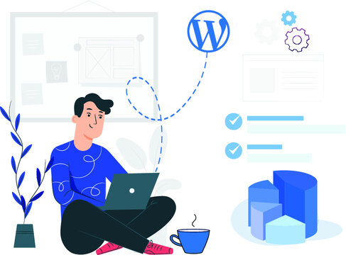 a man with laptop fixing WordPress issues