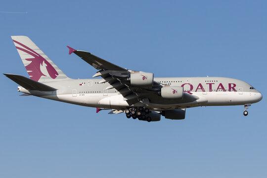 FRANKFURT AM MAIN, GERMANY - Nov 02, 2019: Qatar Airways Airbus A380-800 A7-APC