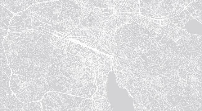 Urban vector city map of Zurich , Switzerland, Europe