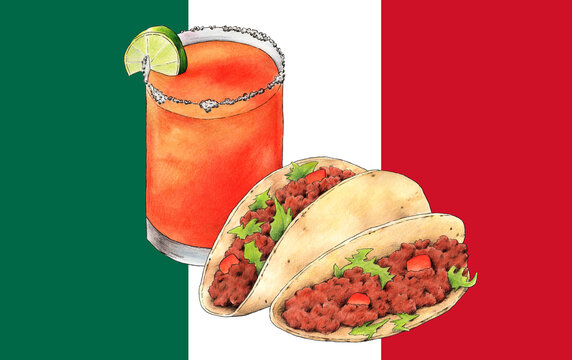 Ilustración de 2 tacos mexicanos con carne, toamte y lechuga. Cóctel típico mexicano: Michelada. Acuarela y lápiz. Bandera de México