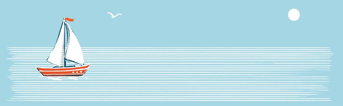 Horizontal banner. Illustration in a marine retro minimalist style. A white sailboat on white stripes of water with a blue background.
