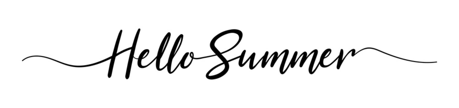 Summer lettering. Hello summer text. Typography Design Inspiration. Lettering style word for sign, banner, card. Isolated. Black colored. On a white background. Vector