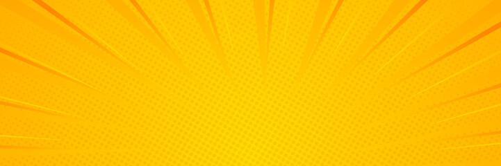 Rays background. Pop art style. Yellow retro background. Vector