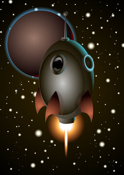 A cartoon metallic space rocket flying in the middle of the deep space. Vector Illustration