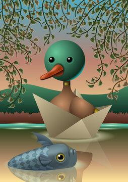 A cartoon duck sailing inside a paper boat in a nice like together with a fish who is swimming in the water . Vector illustration