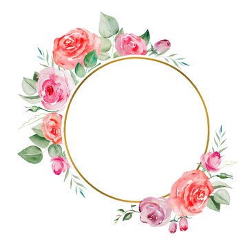 Watercolor pink and red roses flowers and leaves frame illustration