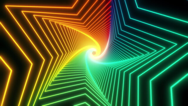Flight in bright color abstract sci-fi tunnel seamless loop. Futuristic VJ motion graphics for music video, EDM club concert, high tech background. Time warp portal, lightspeed hyperspace concept. 4k