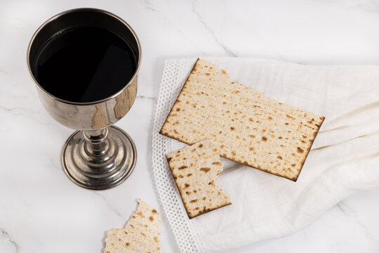 holy communion chalice with wine and bread. Lord's supper