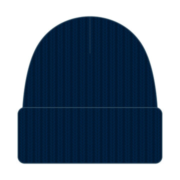Navy Blue Beanie Hat Template Vector on White Background