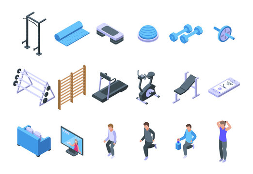 Home gym icons set. Isometric set of home gym vector icons for web design isolated on white background