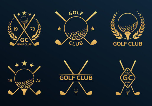 Golf club logo, badge or icon set with crossed golf clubs and ball on tee. Vector illustration.