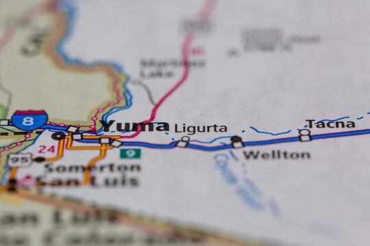 04-28-2021 Portsmouth, hampshire, UK, Yuma Arizona USA shown on a geography map or road map