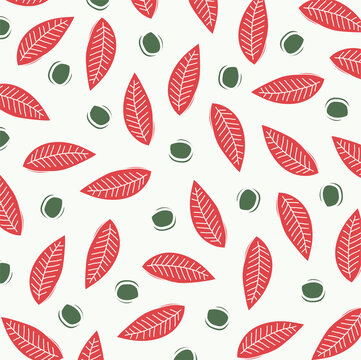 Vector linocut pattern with red and green floral elements. Vector lino print background with red plants.