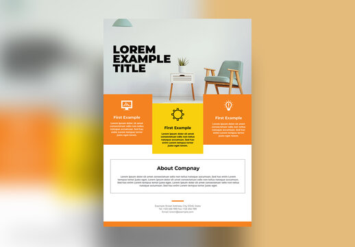 Business Flyer with Orange Accent