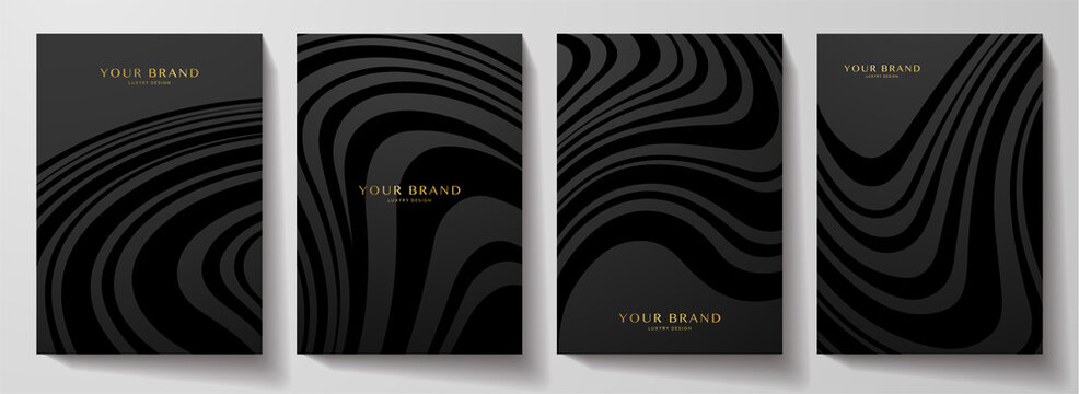Modern black cover design set.  Abstract wavy line pattern (curves) in monochrome. Creative stripe vector collection for business background page, brochure template, booklet, vertical flyer