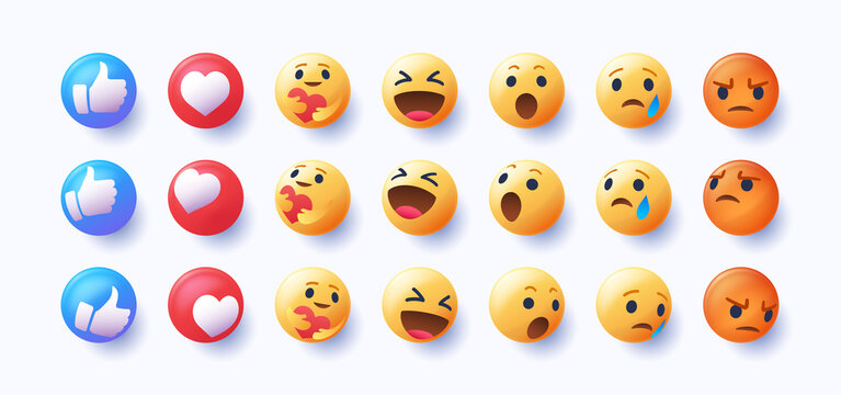 3d emoji in various points of view