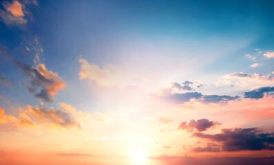 Fototapeta Bright orange sky and Colorful sky in twilight background