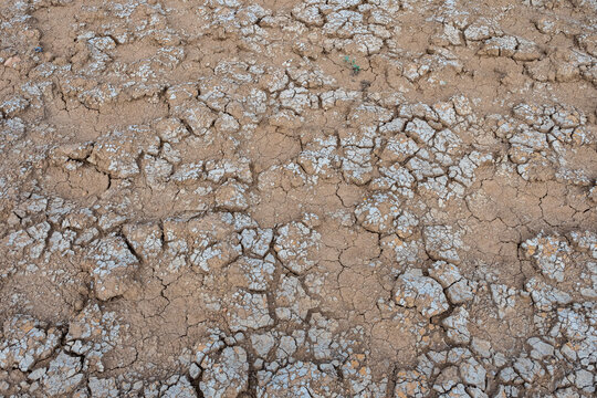 Cracked soil from drought, Global warming .