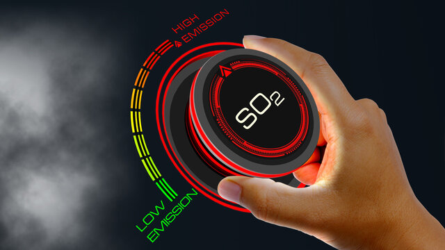 So2 Emission Concept with knob button changing value Low Emission to High Emission  and reverse