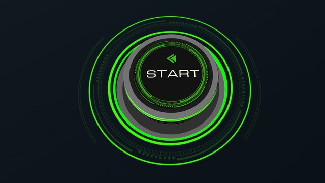 Start Stop Button Concept with finger touch button changing Start to Stop  and reverse