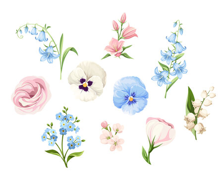Vector set of pink, blue and white pansy flowers, lisianthus flowers, bluebells, lily of the valley and forget-me-not flowers isolated on a white background.