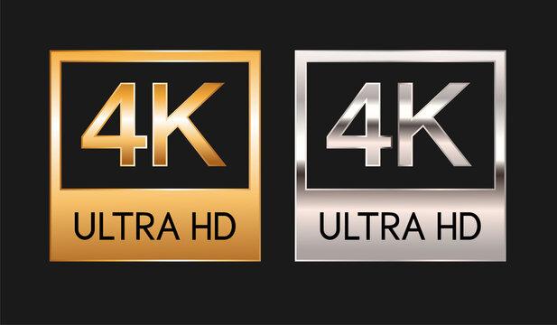4k ultra HD, gold and silver badges. 4K video resolution, vector illustration.