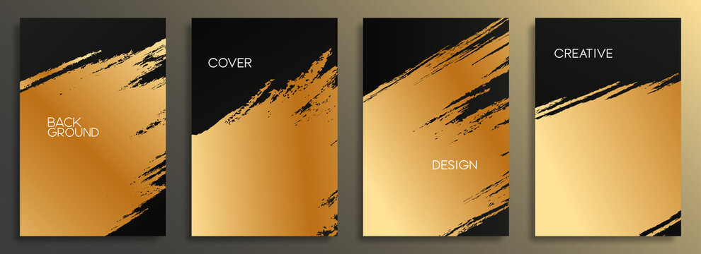 Set of golden cover design template. Abstract gold brush strokes background for card, brochure, banner, posters, flyer, and wallpaper.